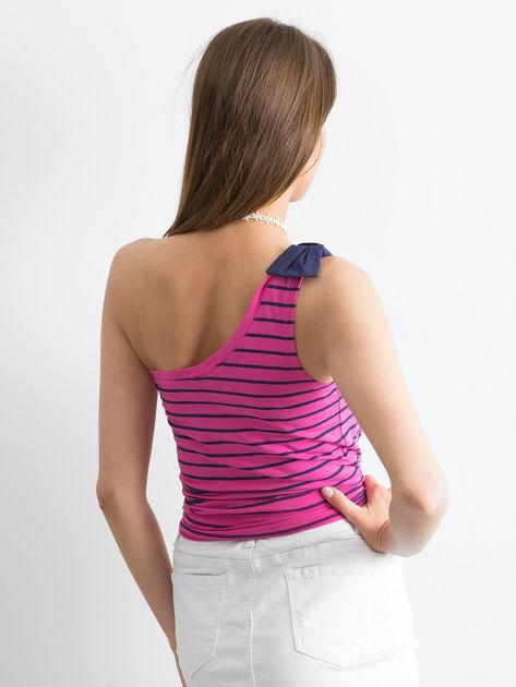FUNK N SOUL Różowy top w paski na jedno ramię                              zdj.                              2