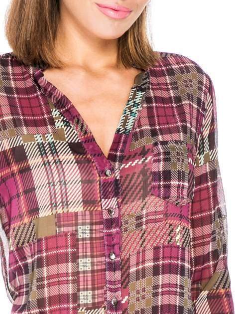 Fioletowa koszula damska w kratę                                  zdj.                                  7