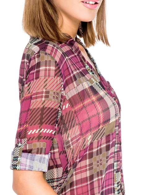Fioletowa koszula damska w kratę                                  zdj.                                  6