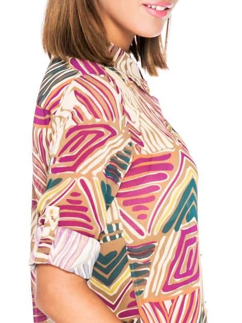 Fioletowa koszula w kolorowe zygzaki                                  zdj.                                  6