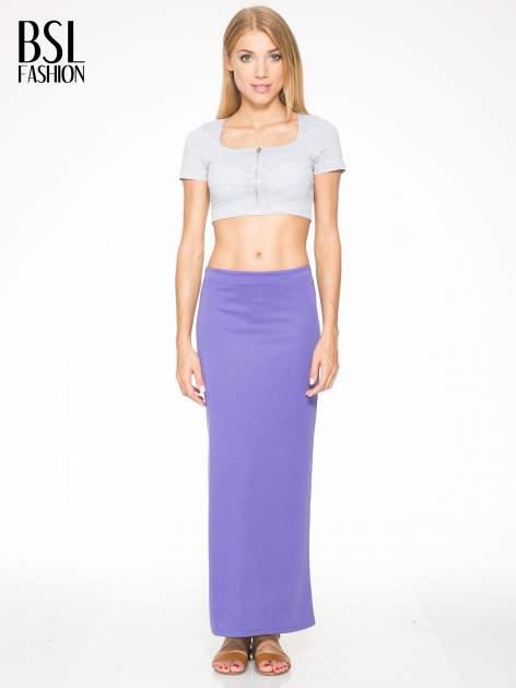 Fioletowa maxi spódnica z rozcięciem z boku                                  zdj.                                  5