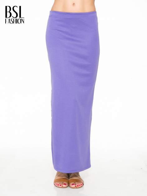 Fioletowa maxi spódnica z rozcięciem z boku                                  zdj.                                  1