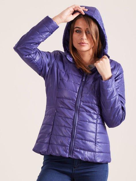 Fioletowa pikowana kurtka z kapturem                                  zdj.                                  1