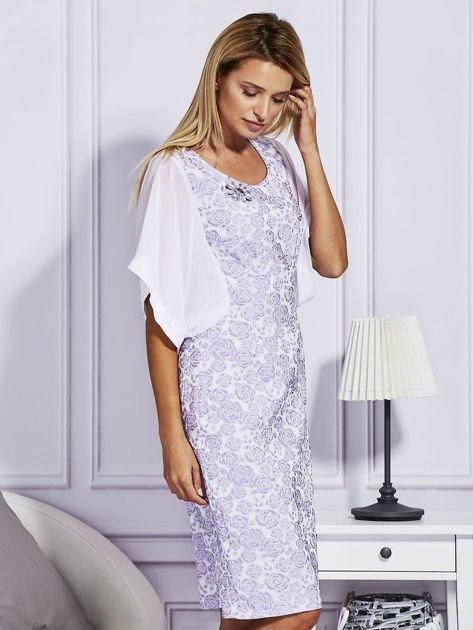 Fioletowa sukienka z luźnymi rękawami                               zdj.                              5