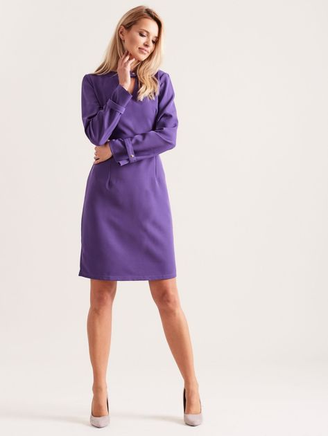 Fioletowa sukienka z wycięciem                               zdj.                              4