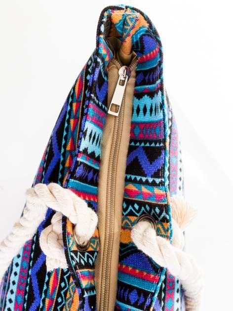 Fioletowa torba plażowa w azteckie wzory                                  zdj.                                  7