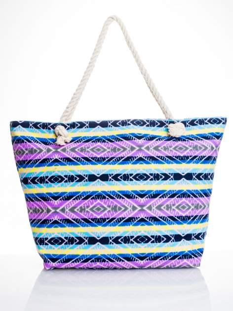 Fioletowa torba plażowa w azteckie wzory                                  zdj.                                  5