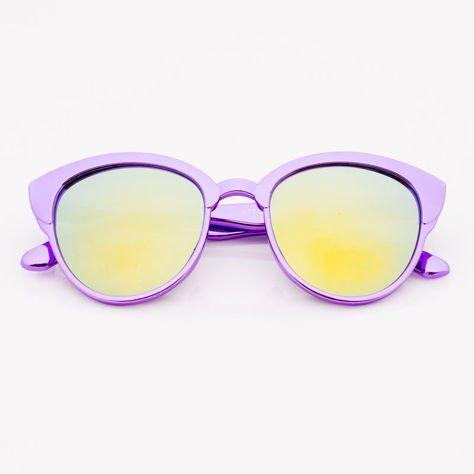 Fioletowe Lustrzane Dziecięce Okulary przeciwsłoneczne Z Metalicznym Połyskiem                              zdj.                              1
