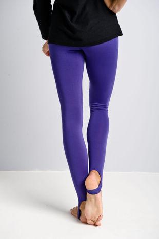 Fioletowe legginsy zakładane na stopę                                  zdj.                                  2