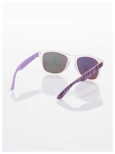 Fioletowe  lustrzanki z filtrami UV okulary z klasyczną oprawką WAYFARER NERD z efektem mlecznej szyby -odporne na wyginania                                  zdj.                                  3
