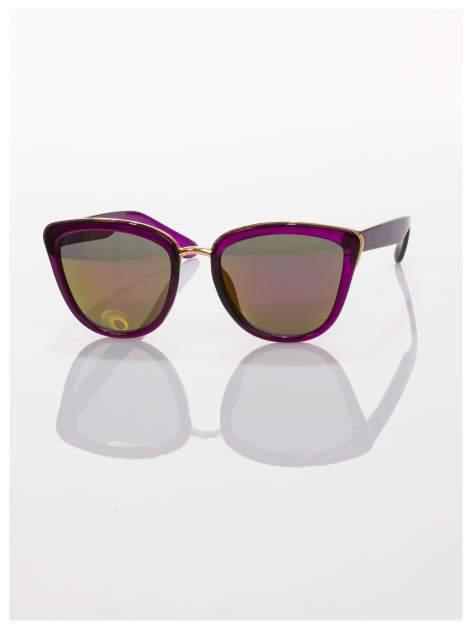 """Fioletowe okulary przeciwsłoneczne w stylu """"kocie oczy"""" lustrzanka  ze złotą obramówką LATO 2016                                  zdj.                                  2"""
