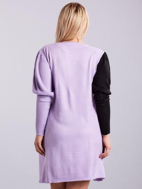 Fioletowo-czarna sukienka dzianinowa PLUS SIZE                              zdj.                              2