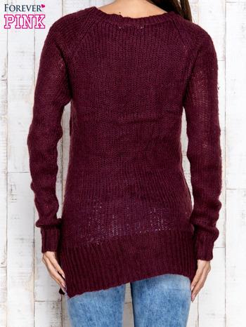 Fioletowy dzianinowy sweter o szerokim splocie                                  zdj.                                  4