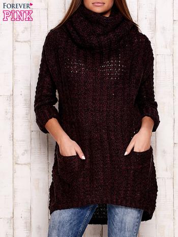 Fioletowy melanżowy sweter z szerokim golfem i kieszeniami
