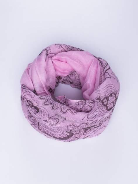 Fioletowy orientalny szal we wzór paisley