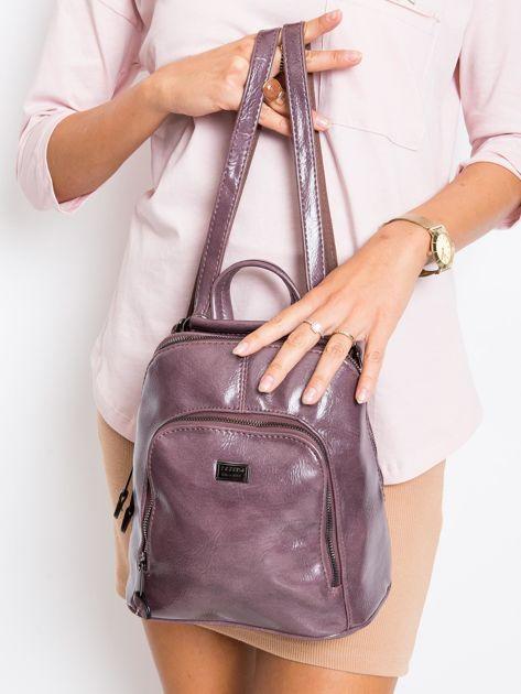 Fioletowy plecak damski ze skóry ekologicznej                              zdj.                              1