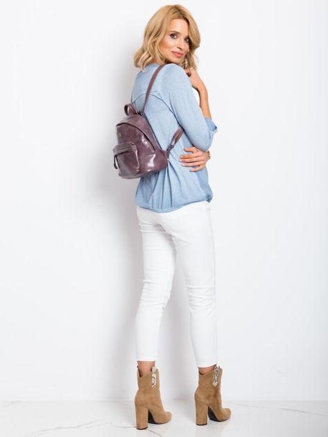 Fioletowy plecak z eko skóry                              zdj.                              4