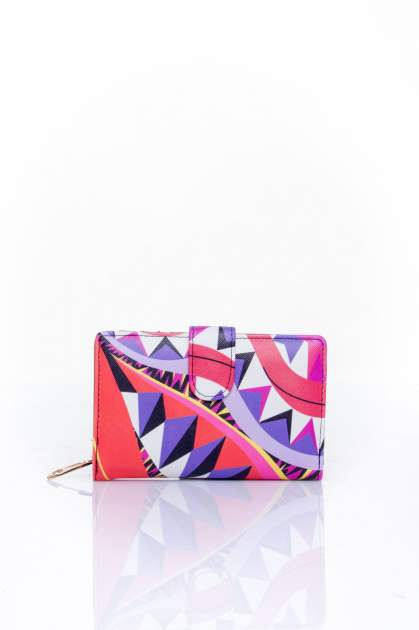 Fioletowy portfel w graficzne wzory