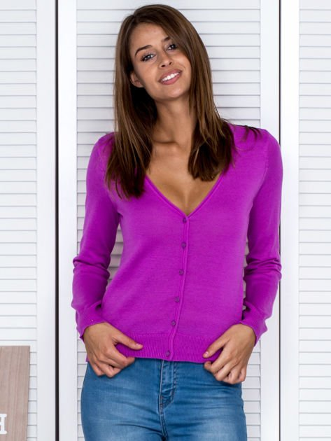 Fioletowy rozpinany sweter                                  zdj.                                  1