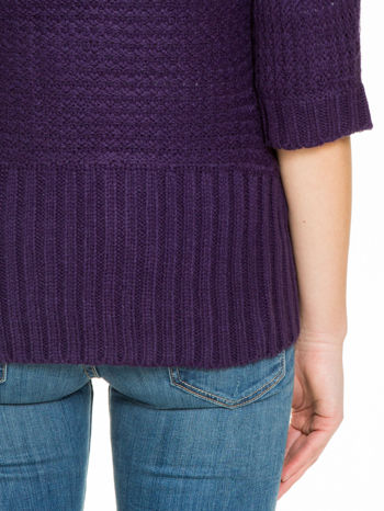 Fioletowy sweter narzutka z rękawem 3/4                                  zdj.                                  9