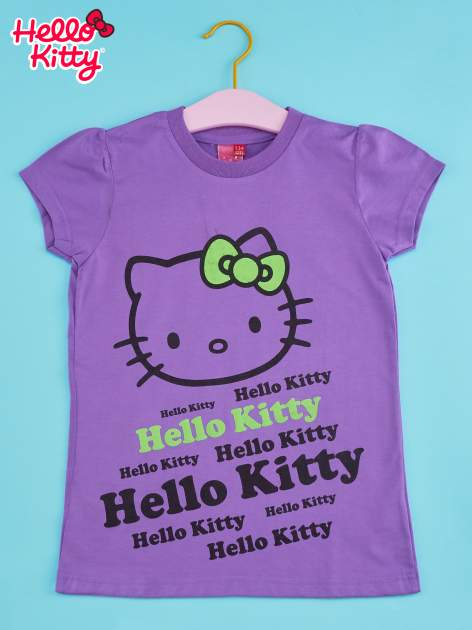 Fioletowy t-shirt dla dziewczynki HELLO KITTY z napisami                                  zdj.                                  1