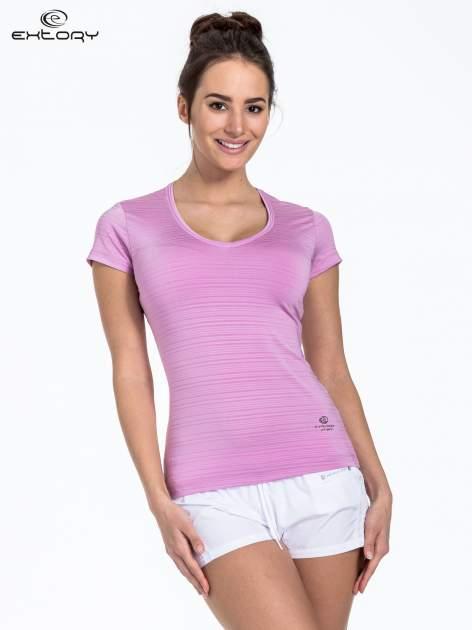 Fioletowy t-shirt sportowy w paseczki                                  zdj.                                  1