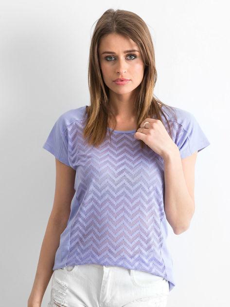 Fioletowy t-shirt w zygzaki                              zdj.                              1