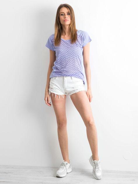 Fioletowy t-shirt w zygzaki                              zdj.                              4