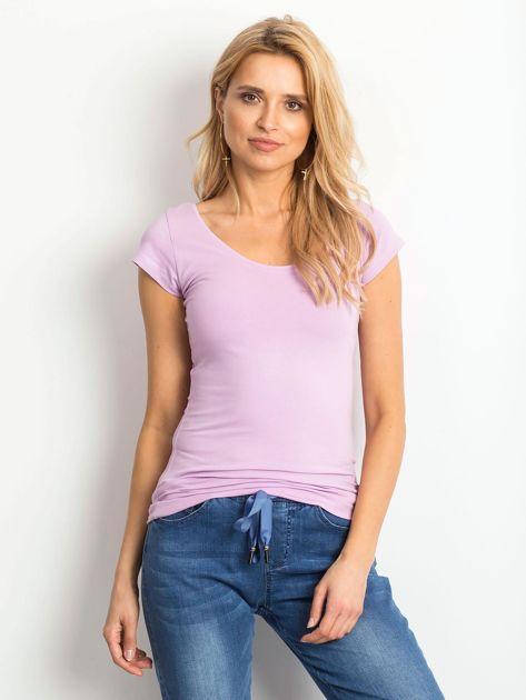 Fioletowy t-shirt z okrągłym dekoltem                              zdj.                              1