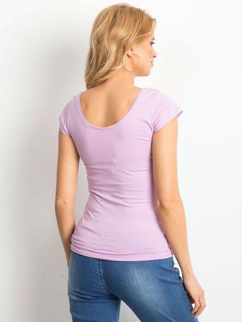 Fioletowy t-shirt z okrągłym dekoltem                              zdj.                              2