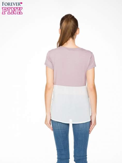 Fioletowy t-shirt z siateczkowym białym dołem                                  zdj.                                  4