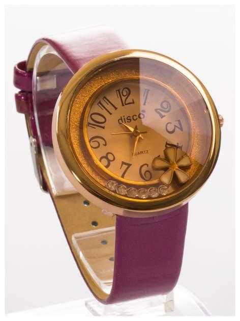 Fioletowy zegarek damski z cyrkoniami na skórzanym, lakierowanym pasku                                  zdj.                                  3