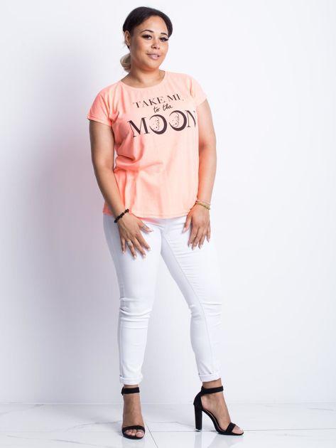 Fluo brzoskwiniowy t-shirt plus size Moonraker                              zdj.                              4