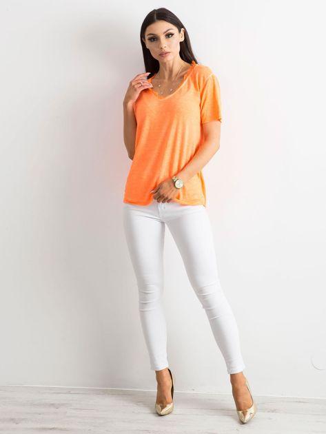 Fluo pomarańczowa bluzka z krótkim rękawem                              zdj.                              4