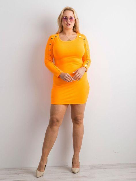 Fluo pomarańczowa prążkowana sukienka z guzikami                              zdj.                              4