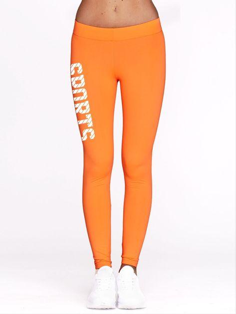 Fluo pomarańczowe legginsy do fitnessu ze sportowym nadrukiem                                  zdj.                                  2