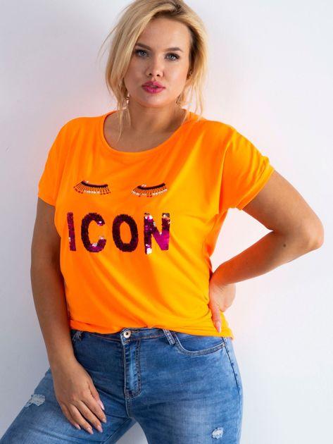 Fluo pomarańczowy t-shirt Calmly PLUS SIZE