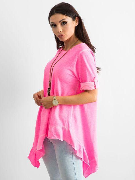 Fluo różowa asymetryczna tunika                              zdj.                              3