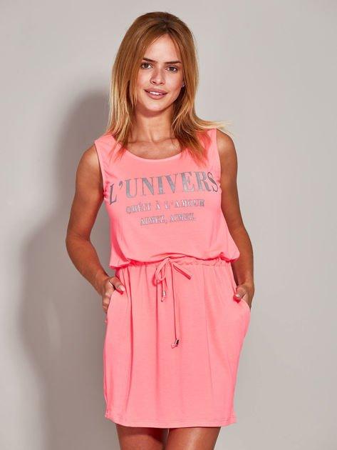Fluo różowa sukienka z troczkami                                  zdj.                                  3