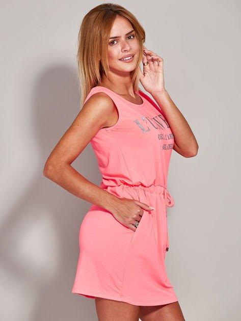 Fluo różowa sukienka z troczkami                              zdj.                              5