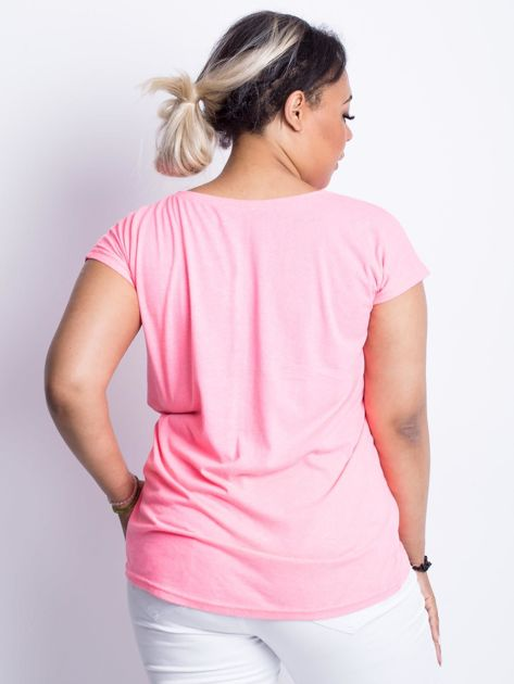 Fluo różowy t-shirt plus size Moonraker                              zdj.                              2