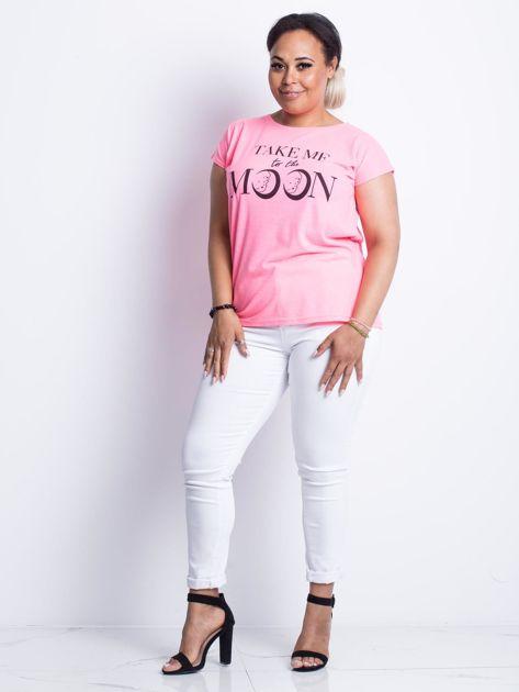 Fluo różowy t-shirt plus size Moonraker                              zdj.                              4