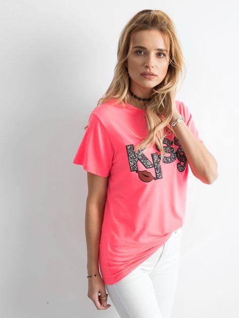 Fluo różowy t-shirt z aplikacją                              zdj.                              3