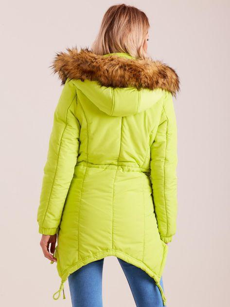 Fluo zielona damska kurtka na zimę                              zdj.                              2
