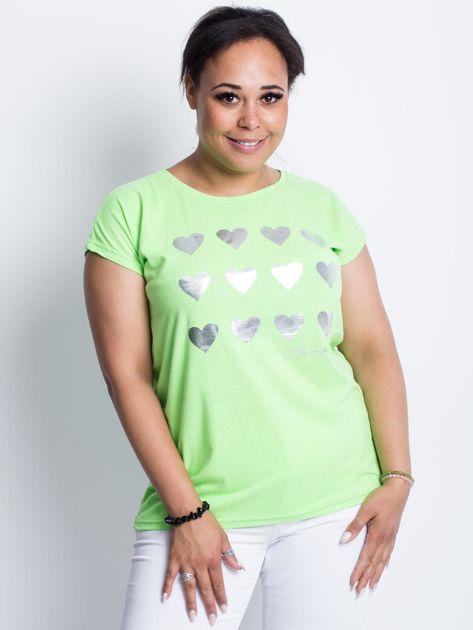 Fluo zielony t-shirt plus size Hearties                              zdj.                              1