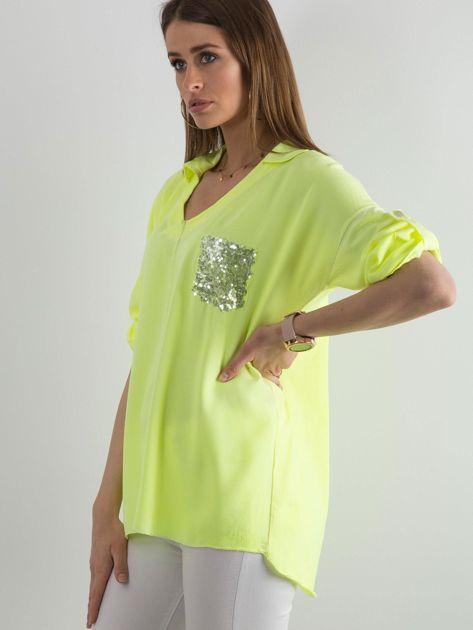 Fluo żółta bluzka damska z cekinową kieszenią                              zdj.                              3