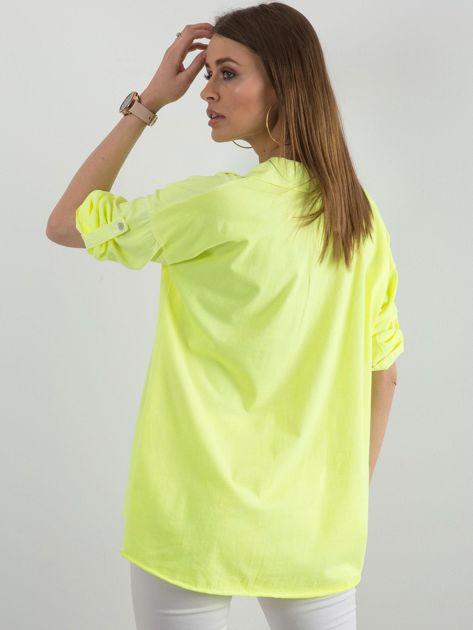 Fluo żółta bluzka damska z cekinową kieszenią                              zdj.                              2