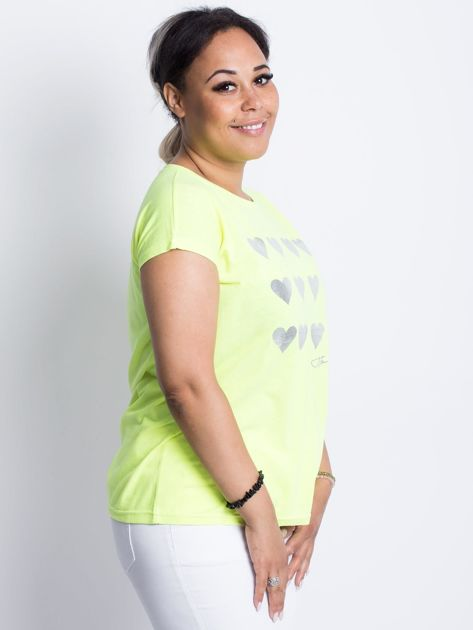 Fluo żółty t-shirt plus size Hearties                              zdj.                              3