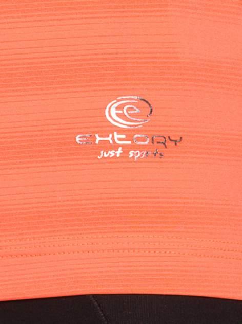 Fluopomarańczowy damski t-shirt sportowy w paski                                  zdj.                                  3