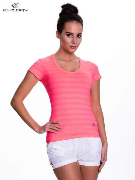 Fluoróżowy t-shirt sportowy w paseczki                                  zdj.                                  1